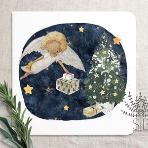 Karácsonyi képeslap, angyalkás képeslap, karácsonyi üdvözlő lap, kedves téli angyal képeslap, Karácsony & Mikulás, Otthon & Lakás, Karácsonyi képeslap, Fotó, grafika, rajz, illusztráció, Angyalkás képeslap karácsonyra.\n\nA képeslapok matt, hófehér papírra vannak nyomtatva. \n\nAmit küldünk..., Meska