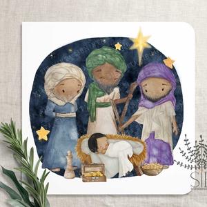 Karácsonyi képeslap, Jézuska képeslap, háromkirályok karácsonyi üdvözlő lap, bölcsek és Jézus képeslap, Otthon & Lakás, Karácsony & Mikulás, Karácsonyi képeslap, Fotó, grafika, rajz, illusztráció, Három bölcs és Jézus képeslap karácsonyra.\n\nA képeslapok matt, hófehér papírra vannak nyomtatva. \n\nA..., Meska
