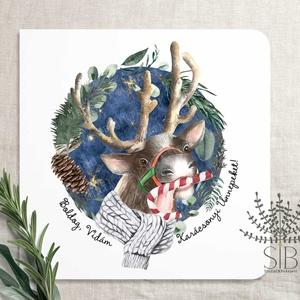 Karácsonyi képeslap, szarvas képeslap, karácsonyi üdvözlő lap, kedves téli szarvas képeslap, Otthon & Lakás, Karácsony & Mikulás, Karácsonyi képeslap, Fotó, grafika, rajz, illusztráció, Boldog karácsonyi szarvas képeslap.\n\nA képeslapok matt, hófehér papírra vannak nyomtatva. \n\nAmit kül..., Meska