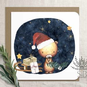 Karácsonyi képeslap, macis képeslap, mackó karácsonyi üdvözlő lap, téli maci képeslap, Otthon & Lakás, Karácsony & Mikulás, Karácsonyi képeslap, Fotó, grafika, rajz, illusztráció, Macis képeslap karácsonyra. \n\nA képeslapok matt, hófehér papírra vannak nyomtatva. \n\nAmit küldünk:\n\n..., Meska