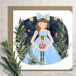 """Diótörő balett karácsonyi képeslap, karácsonyi ajándékkísérő, karácsonyi üdvözlő lap, egérkirály, Clara, katona, balett, Otthon & Lakás, Karácsony & Mikulás, Karácsonyi képeslap, Fotó, grafika, rajz, illusztráció, Diótörős sorozatunk tagja ez a karácsonyi képeslap.\nA bolt \""""Karácsony\"""" polcán további diótörős lapok..., Meska"""