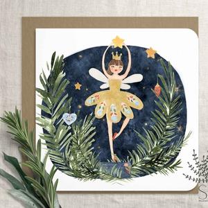 """Diótörő balett karácsonyi képeslap, karácsonyi ajándékkísérő, karácsonyi üdvözlő lap, Cukorszilva tündér, balett, , Otthon & Lakás, Karácsony & Mikulás, Karácsonyi képeslap, Fotó, grafika, rajz, illusztráció, Diótörős sorozatunk tagja ez a karácsonyi képeslap.\nA bolt \""""Karácsony\"""" polcán további diótörős lapok..., Meska"""