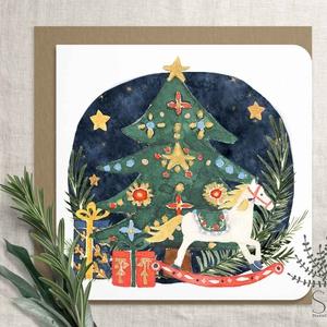 """Diótörő balett karácsonyi képeslap, karácsonyi ajándékkísérő, karácsonyi üdvözlő lap, Cukorszilva tündér, balett, , Otthon & Lakás, Karácsony & Mikulás, Karácsonyi képeslap, Fotó, grafika, rajz, illusztráció, Diótörős sorozatunk tagja ez a karácsonyfa mintás képeslap.\n\nA bolt \""""Karácsony\"""" polcán további diótö..., Meska"""