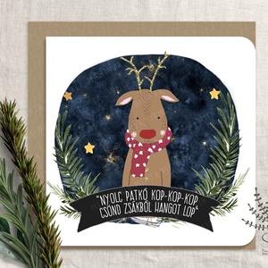 Rudolf karácsonyi képeslap, karácsonyi üdvözlő lap, Rudolf karácsonyi lap, csillogó képeslap, szarvas képeslap, Karácsony & Mikulás, Karácsonyi képeslap, Fotó, grafika, rajz, illusztráció, Saját grafikával készült szarvas karácsonyi képeslap. Arany glitteres képeslap.\n\nA kártyák matt, hóf..., Meska