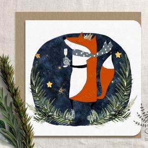 Róka karácsonyi képeslap, karácsonyi üdvözlő lap, rókás karácsonyi lap, csillogó képeslap, szarvas képeslap, Karácsony & Mikulás, Karácsonyi képeslap, Fotó, grafika, rajz, illusztráció, Saját grafikával készült vidám rókás karácsonyi képeslap. Arany glitteres képeslap.\n\nA kártyák matt,..., Meska