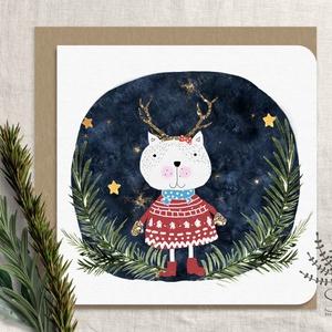 Cicás karácsonyi képeslap, karácsonyi üdvözlő lap, cica karácsonyi lap, csillogó képeslap, macskás képeslap, Karácsony & Mikulás, Karácsonyi képeslap, Fotó, grafika, rajz, illusztráció, Saját grafikával készült kedves macskás karácsonyi képeslap. Arany glitteres képeslap.\n\nA kártyák ma..., Meska