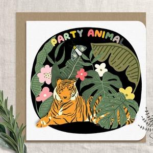 Születésnapi képeslap, szülinapi party képeslap, születésnapi üdvözlő kártya, tigris, Otthon & Lakás, Papír írószer, Képeslap & Levélpapír, Fotó, grafika, rajz, illusztráció, Születésnapi party animal képeslap.\n\nA képeslapok matt, hófehér papírra vannak nyomtatva. \n\nAmit kül..., Meska