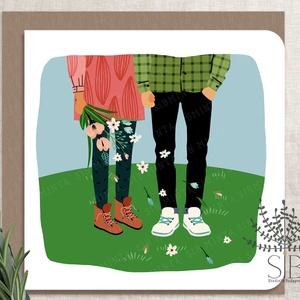 """Szerelmes pár képeslap, Valentín-nap képeslap, Valentín napi ajándékkísérő, születésnapi üdvözlő lap, szerelem séta, Otthon & Lakás, Papír írószer, Képeslap & Levélpapír, Fotó, grafika, rajz, illusztráció, Szerelmes pár képeslap \""""Szerelmes séta\"""". \n\nA képeslapok matt, hófehér papírra vannak nyomtatva. \n\nAm..., Meska"""