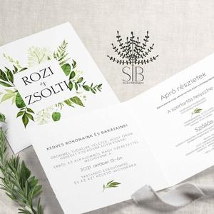 Zöld leveles esküvői Meghívó, vízfesték hatású Esküvői Meghívó, boho esküvői kártya, Esküvő, Meghívó & Kártya, Meghívó, Bohém és egyben elegáns, zöld levelekkel díszített greenery esküvői meghívó.  Aquarell hatású, kinyi..., Meska