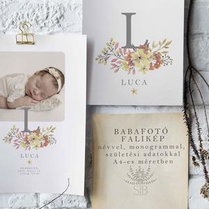 Baba fotó monogramos falikép, babaszoba dekoráció, babaszületési ajándék, kismamáknak, keresztelő ajándék, Művészet, Grafika & Illusztráció, Babafotó monogramos falikép A4-es méretben nyomtatva (29.7 cm x 21 cm)  Egyedi és különleges dísze l..., Meska