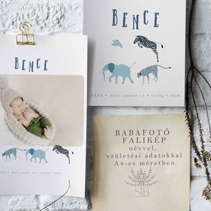 Baba fotó falikép állat mintával, babaszoba dekoráció, babaszületési ajándék, kismamáknak, keresztelő ajándék, Otthon & Lakás, Dekoráció, Kép & Falikép, Babafotó állatos monogramos falikép A4-es méretben nyomtatva (29.7 cm x 21 cm)  Egyedi és különleges..., Meska