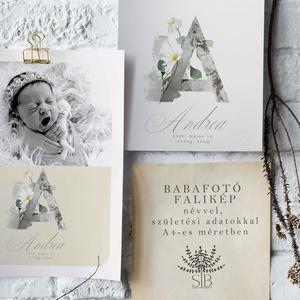 Baba fotó falikép, dekorált monogram, babaszoba dekoráció, babaszületési ajándék, kismamáknak, keresztelő ajándék, Otthon & Lakás, Dekoráció, Falra akasztható dekor, Babafotó falikép. Margaréta monogram A4-es méretben nyomtatva (29.7 cm x 21 cm)  Egyedi és különlege..., Meska