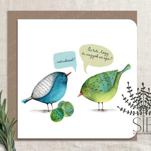 Madaras képeslap, vicces tavaszi képeslap, húsvéti üdvözlő kártya, tojás képeslap, Otthon & Lakás, Papír írószer, Képeslap & Levélpapír, Fotó, grafika, rajz, illusztráció, Vicces madár tojás képeslap.\nA képeslapok matt, hófehér papírra vannak nyomtatva. \n\nAmit küldünk:\n\n1..., Meska