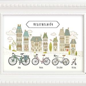 Családi falikép, kerékpáros kép, névre szóló biciklis kép, családi kerékpáros kép, Otthon & Lakás, Dekoráció, Kép & Falikép, Fotó, grafika, rajz, illusztráció, Névre szóló kerékpáros családi falikép tekergőknek.\nSzuper dísze lehet az előszobának. Kérheted a sa..., Meska