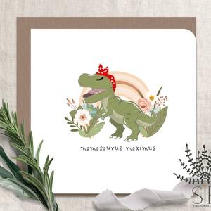 Anyák napi képeslap, Anya képeslap, Dinosaurus képeslap, mamasaurus, dinós anyák napi képeslap,, Otthon & Lakás, Papír írószer, Képeslap & Levélpapír, Fotó, grafika, rajz, illusztráció, Meska