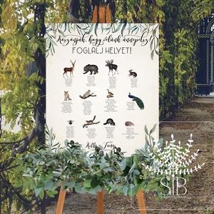 Esküvői ültetési rend, erdei állatos ültető tábla, esküvői ülésrend, erdei esküvői dekoráció, Esküvő, Dekoráció, Tábla & Jelzés, Fotó, grafika, rajz, illusztráció, Esküvői ültető tábla formában. \nHasznos segítség a vendégseregnek a vacsora asztal gyors megtalálásá..., Meska