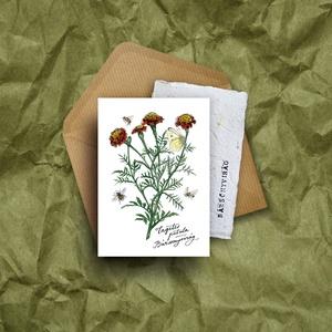 """Paperplant üdvözlőlap virágmagokkal, bársonyvirág, Otthon & lakás, Anyák napja, Ünnepi dekoráció, Dekoráció, Képzőművészet, Grafika, Naptár, képeslap, album, Nagyon szeretjük a növényeket, mindig meghálálják a gondoskodást. És ahogy mondják: """"Aki a virágot s..., Meska"""