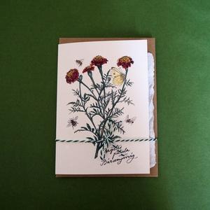 Paperplant üdvözlőlap virágmagokkal, bársonyvirág (StudioKisinas) - Meska.hu