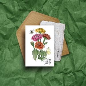 """Paperplant üdvözlőlap virágmagokkal, rézvirág, Otthon & lakás, Anyák napja, Ünnepi dekoráció, Dekoráció, Képzőművészet, Grafika, Naptár, képeslap, album, Nagyon szeretjük a növényeket, mindig meghálálják a gondoskodást. És ahogy mondják: """"Aki a virágot s..., Meska"""