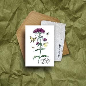 """Paperplant üdvözlőlap virágmagokkal, törökszegfű, Anyák napja, Ünnepi dekoráció, Dekoráció, Otthon & lakás, Képzőművészet, Grafika, Naptár, képeslap, album, Fotó, grafika, rajz, illusztráció, Újrahasznosított alapanyagból készült termékek, Nagyon szeretjük a növényeket, mindig meghálálják a gondoskodást.\nÉs ahogy mondják: \""""Aki a virágot s..., Meska"""