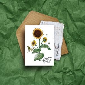"""Paperplant üdvözlőlap virágmagokkal, napraforgó, Otthon & lakás, Dekoráció, Képzőművészet, Grafika, Naptár, képeslap, album, Kép, Fotó, grafika, rajz, illusztráció, Újrahasznosított alapanyagból készült termékek, Nagyon szeretjük a növényeket, mindig meghálálják a gondoskodást.\nÉs ahogy mondják: \""""Aki a virágot s..., Meska"""