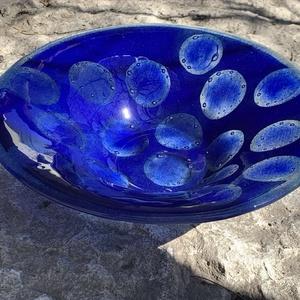 Blue eyes üvegtál , Otthon & lakás, Dekoráció, Konyhafelszerelés, Lakberendezés, Asztaldísz, Üvegművészet, Kézzel festett, karcolt és szórt technikával készített olvasztott üvegtál. Opál és transzparens fest..., Meska
