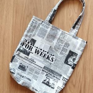 Újságmintás táska - kicsi, Táska, Divat & Szépség, Táska, Szatyor, Varrás, Újságmintás táska - kicsi\n\nMérete:\nmagassága: 31,5 cm\nszélessége: 28 cm\nfül: 39,5 cm\n\nMágneszárral z..., Meska