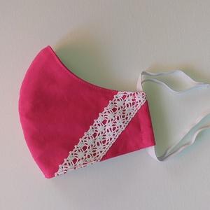 Pink csipkével - 3-as méret, NoWaste, Textilek, Kendő, Varrás, 3-as méret\nMérete:\nszélessége: 26,6 cm\nmagassága középen: 14,5 cm\nmagassága oldalt: 5,4 cm\n\nAz anyag..., Meska