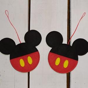 Mickey karácsonyfadísz (2db), Karácsony & Mikulás, Karácsonyfadísz, Varrás, Mickey rajongóknak és mindenki másnak.\n\nFilc anyagból készítettem. \nLapos karácsonyfadísz.\n\nMérete:\n..., Meska