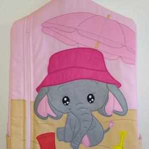 Elefántos ovis zsák, Játék & Gyerek, Ovis zsák & Ovis szett, Ovis zsák, Varrás, A zsák alapja a világos rózsaszín és a világos barna anyag. Erre varrtam filc anyagból az elefántos ..., Meska