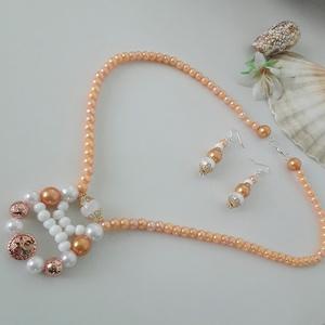 Esküvői szépség , Ékszer, Nyaklánc, Gyöngyös nyaklác, Gyöngyfűzés, gyöngyhímzés, Elasztikus zsinórra fűzött cseh narancssárga 3 mm-es, 10 mm-es gyöngyökből készült nyaklánc.  Roppan..., Meska