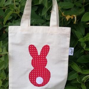 Nyuszi szatyor, Shopper, textiltáska, szatyor, Bevásárlás & Shopper táska, Táska & Tok, Varrás, Nyuszi táska kicsiknek, hogy legyen mibe gyűjtögetni a húsvéti csokikat és tojásokat. Mérete: 19x23 ..., Meska