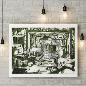 """Vakondverzum 2/10 \""""A Labirintusban\"""" - Kézzel festett illusztráció, Művészi nyomat, Művészet, Fotó, grafika, rajz, illusztráció, Festészet, Sziasztok!\n\nKeretezésre kész formában ajánlom figyelmetekbe kézzel festett illusztrációim művészi pr..., Meska"""
