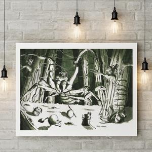 """Vakondverzum 3/10 \""""Harc az Óriás Pókkal\"""" - Kézzel festett illusztráció, Művészi nyomat, Művészet, Fotó, grafika, rajz, illusztráció, Festészet, Sziasztok!\n\nKeretezésre kész formában ajánlom figyelmetekbe kézzel festett illusztrációim művészi pr..., Meska"""