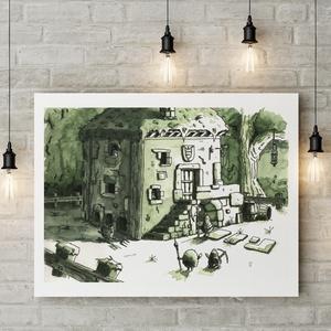 """Vakondverzum 4/10 \""""Találkozás a Csirkékkel\"""" - Kézzel festett illusztráció, Művészi nyomat, Művészet, Fotó, grafika, rajz, illusztráció, Festészet, Sziasztok!\n\nKeretezésre kész formában ajánlom figyelmetekbe kézzel festett illusztrációim művészi pr..., Meska"""