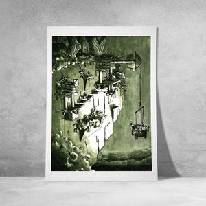 """Vakondverzum 10/10 \""""Mélység\"""" - Kézzel festett illusztráció, Művészi nyomat, Művészet, Fotó, grafika, rajz, illusztráció, Festészet, Sziasztok!\n\nKeretezésre kész formában ajánlom figyelmetekbe kézzel festett illusztrációim művészi pr..., Meska"""