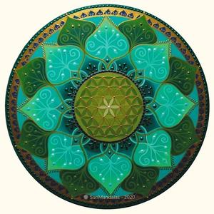 Türkiz - Zöld Mandala, Művészet, Festmény, Akril, Festészet, Festett tárgyak, Türkiz - Zöld Mandala Életvirága szimbólummal  30cm (6mm magas) \nEgyedi, kézzel festett akrilfestékk..., Meska