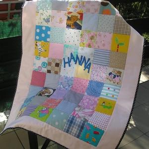Hanna takarója, Gyerek & játék, Gyerekszoba, Falvédő, takaró, Varrás, Patchwork, foltvarrás, Rendelésre készült, ajándékba is adható ez a vidám, kedves patchwork gyerektakaró, melyet színes, mi..., Meska