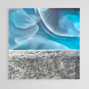 """Absztrakt Festmèny, 60x60 cm, Művészet, Festmény, Akril, Festészet, """"Bardo - kék""""\nAbsztrakt festmény vásznon. \nA """"Bardo"""" cím a buddhizmusból ismert létközi állapotra ut..., Meska"""