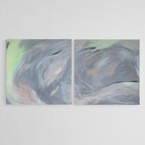 """Absztrakt festmény 2x50x50 cm, Művészet, Festmény, Akril, Festészet, \""""Te + Én 2021\""""\nKét ember folyamatos áramlásban lévő, energált kapcsolatát jeleníti meg a festmény. \n..., Meska"""
