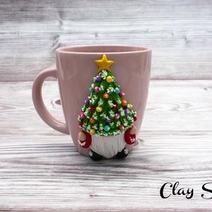 Karácsonyi Manó sapkában / Karácsonyfa kalap bögre, Otthon & Lakás, Konyhafelszerelés, Bögre & Csésze, Gyurma, Meska