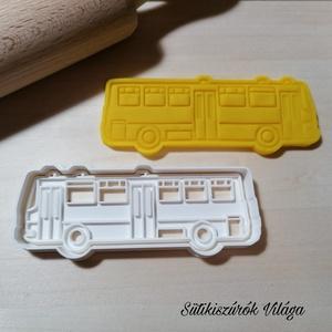 Ikarus busz - süteménykiszúró forma, sütipecsét. Linzer, mézeskalács, keksz kiszúró, Otthon & lakás, Konyhafelszerelés, Mindenmás, Mézeskalácssütés, Ikarus busz forma kétrészes sütemény kiszúró.\nSaját tervezésű süteménykiszúró forma, mely 3D nyomtat..., Meska
