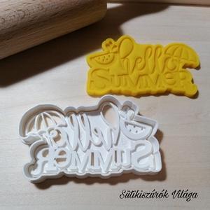Hello Summer felirat - süteménykiszúró forma, sütipecsét. Linzer, mézeskalács, keksz kiszúró, Otthon & lakás, Konyhafelszerelés, Mindenmás, Hello Summer feliratos, kétrészes sütemény kiszúró. \nSaját tervezésű süteménykiszúró forma, mely 3D ..., Meska