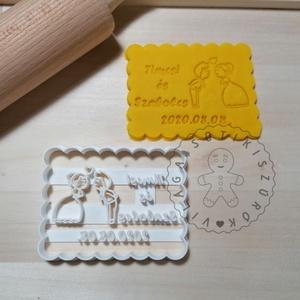 Egyedi esküvői süteménykiszúró forma, sütipecsét. Linzer, mézeskalács, keksz kiszúró, Sütikiszúró, Konyhafelszerelés, Otthon & Lakás, Mindenmás, Mézeskalácssütés, Egyedi esküvői sütikiszúró téglalap keksz forma sütemény kiszúró. \nSaját tervezésű süteménykiszúró f..., Meska