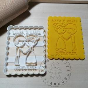Egyedi esküvői álló süteménykiszúró forma, sütipecsét. Linzer, mézeskalács, keksz kiszúró, Sütikiszúró, Konyhafelszerelés, Otthon & Lakás, Mindenmás, Mézeskalácssütés, Egyedi esküvői sütikiszúró, álló téglalap keksz forma sütemény kiszúró. \nSaját tervezésű süteménykis..., Meska