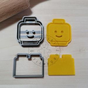 Lego fej és kocka - süteménykiszúró forma, sütipecsét. Linzer, mézeskalács, keksz kiszúró, Sütikiszúró, Konyhafelszerelés, Otthon & Lakás, Mindenmás, Mézeskalácssütés, Lego fej és kocka forma sütemény kiszúró.\nSaját tervezésű süteménykiszúró forma, mely 3D nyomtatássa..., Meska