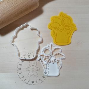 Csokor kannában- süteménykiszúró forma, sütipecsét. Linzer, mézeskalács, keksz kiszúró, Sütikiszúró, Konyhafelszerelés, Otthon & Lakás, Mindenmás, Mézeskalácssütés, Csokor kannában sütemény kiszúró és minta nyomó.\nSaját tervezésű süteménykiszúró forma, mely 3D nyom..., Meska