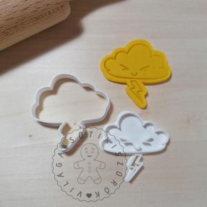 Cuki felhő villámmal- süteménykiszúró forma, sütipecsét. Linzer, mézeskalács, keksz kiszúró, Sütikiszúró, Konyhafelszerelés, Otthon & Lakás, Mindenmás, Mézeskalácssütés, Cuki felhő villámmal sütemény kiszúró és minta nyomó.\nSaját tervezésű süteménykiszúró forma, mely 3D..., Meska