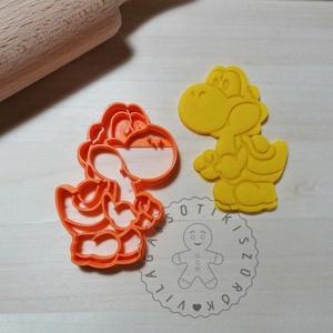 Yoshi Super Mario - süteménykiszúró forma, sütipecsét. Linzer, mézeskalács, keksz kiszúró, Otthon & Lakás, Konyhafelszerelés, Sütikiszúró, Mindenmás, Mézeskalácssütés, Yoshi a Super Marioból sütemény kiszúró forma. \nSaját tervezésű süteménykiszúró forma, mely 3D nyomt..., Meska
