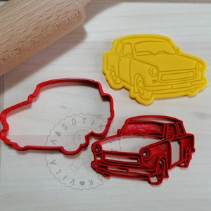 Trabant autó - süteménykiszúró forma, sütipecsét. Linzer, mézeskalács, keksz kiszúró, Otthon & Lakás, Konyhafelszerelés, Sütikiszúró, Mindenmás, Mézeskalácssütés, Trabant autó forma sütemény kiszúró és minta nyomó. \nSaját tervezésű süteménykiszúró forma, mely 3D ..., Meska